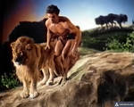 Buster Crabbe as Tarzan crouching with a lion by duskdog1