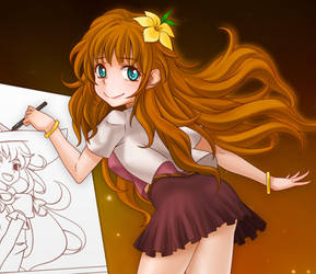 A girl who drawing manga by cerulea83