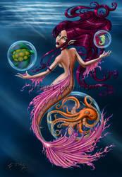 Ocean creatures and mermaid by thereseldavis