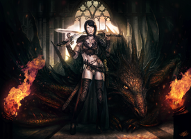 Medieval Cortney and Dragon by mlappas