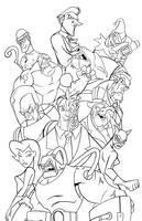 Arkham City Tribute FINAL INKS by JoshawaFrost