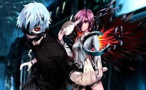 Tokyo Ghoul Kaneki and Touka by CodecXJinxed