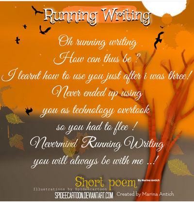 Running writing short poem  by Spideecartoon