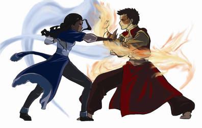 Zutara Fight- Coloured by zarrah-chan