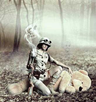 Teddy bear hunting by okissop