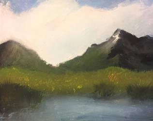 Mountains with a Lake by pinballwitch