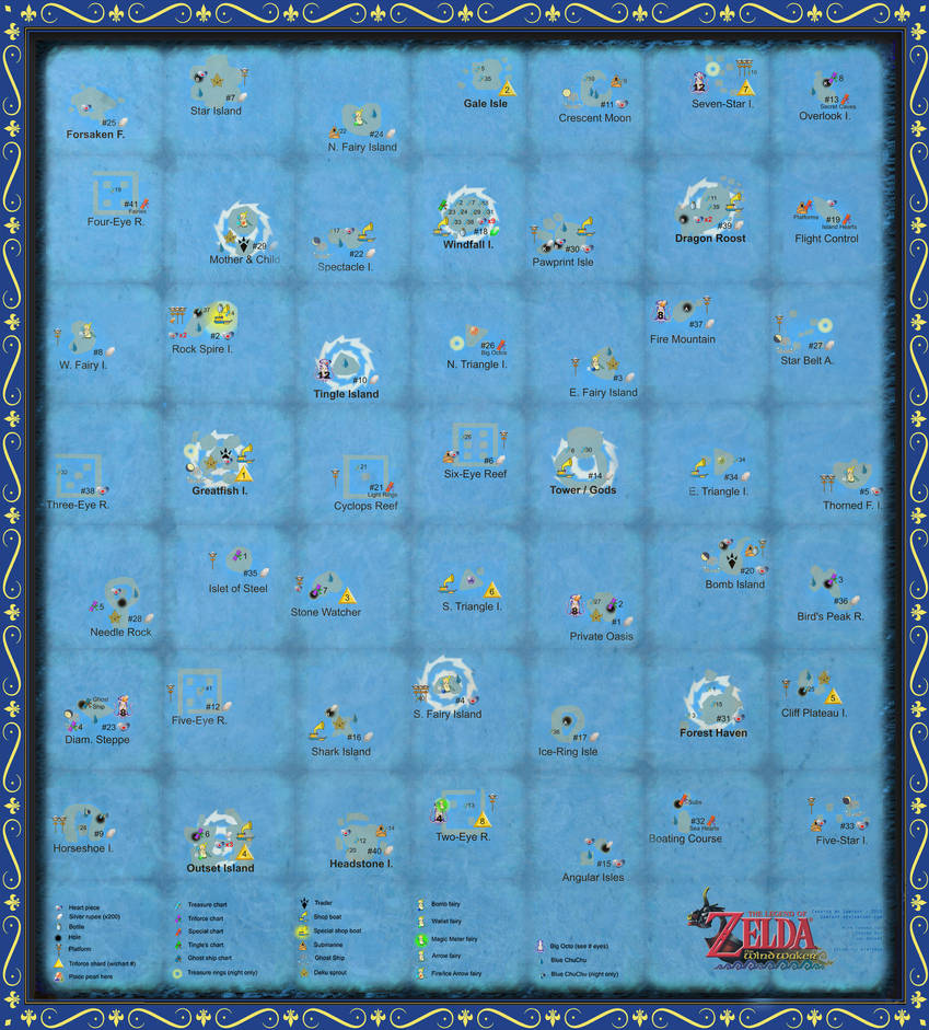 The wind waker full sea chart very large scale by zantaff on