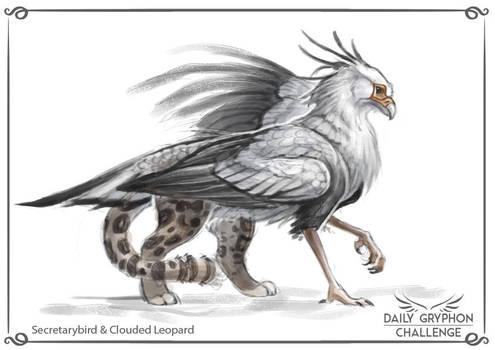 Gryphon Challenge 18 : Secretarybird and Leopard by Pechschwinge