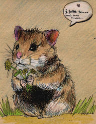 Hamster with flowers by kitten9000