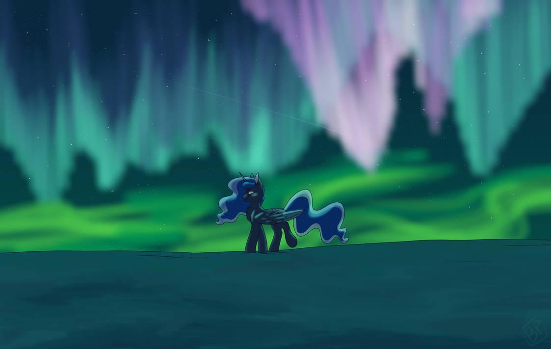 Walking under the Northern Lights by GlitterStar2000