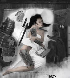 Resting female Kunoichi by Igorus1985