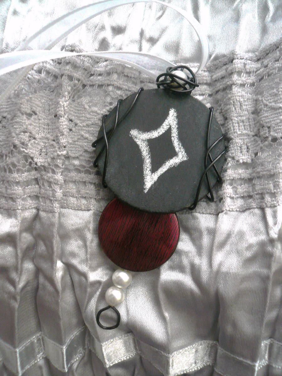 Loud Silence and Lace -- Chalkboard Pendant by Starlit-Sorceress