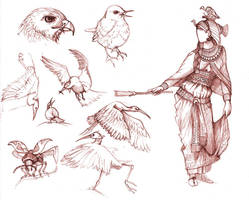 Birds and Egyptian by monorok