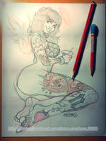 Tattoo girl sketch by renecordova
