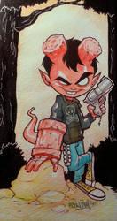 Hellboy kid watercolor by renecordova