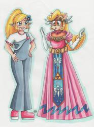 Zelda and Coco Bandicoot exchange their clothes by Renata-Greynoria