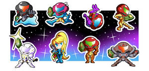 Metroid March - Samus Chibi Batch! by BLARGEN69