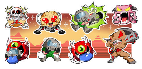 DOOM Chibi Sticker Set! by BLARGEN69