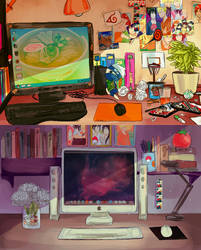 desk space by CarrotCakeBandit