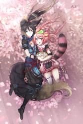 Hagi and Anju by Akainai