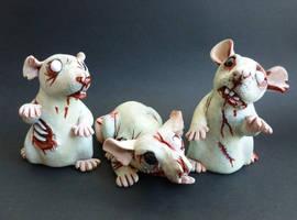 Zombie Rats Want Your Braaaaaaains by philosophyfox