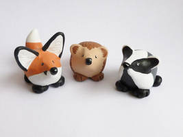 Dumpy Woodland Animals by philosophyfox