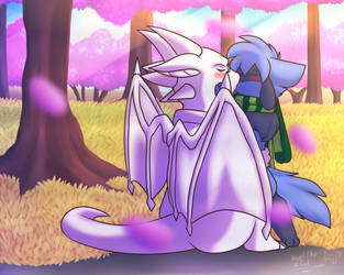 Kiss at the park by Xael-The-Artist