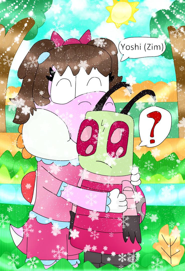 Nicole Gave Zim A Hug (First Fan Art Of Zim) by KoopalingAndMarioFan