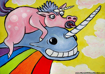 A Unicorn Riding a Narwhal by MuralsWithoutBorders