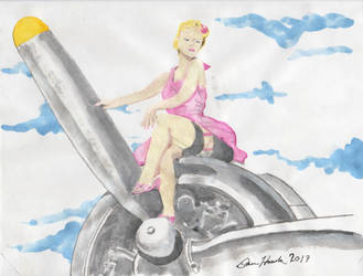Pin -Up Girl Watercolor by DanielLeeHawk
