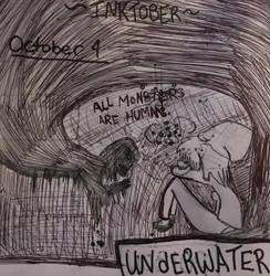 Inktober-Oct 4 ~UNDERWATER~ by Princ3ssWolfi3