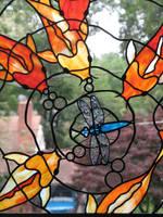 Stained Glass koi with Dragonfly by trilobiteglassworks