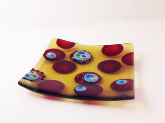 Malaria infected Blood Fused Glass Dish by trilobiteglassworks