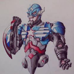 Ultron plus Captain America by oO-sam-Oo
