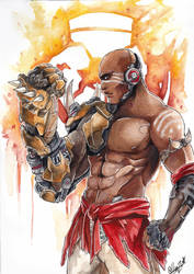 [OW] Watercolor project - Doomfist by HanzuKing