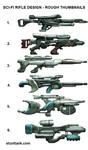 Sci-fi Rifle Thumbnails by kieranoats