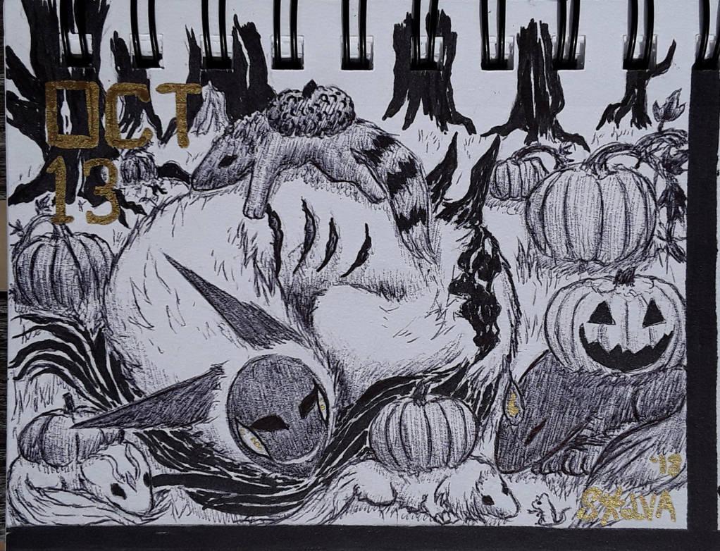 INKTOBER Day 13: Murkya in the Pumpkin Patch by Sokolva
