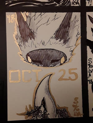 INKTOBER Day 25: Staring contest with a birb esk by Sokolva