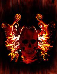 skull on wood by hankd