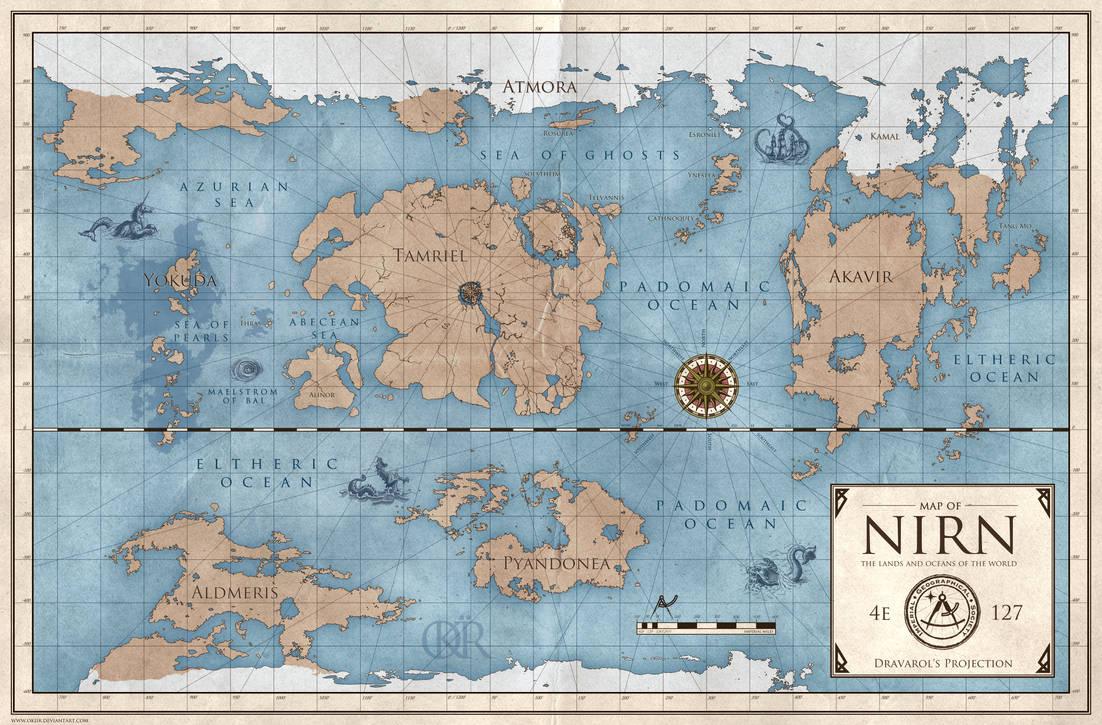 The Elder Scrolls: World Map of Nirn by okiir on DeviantArt