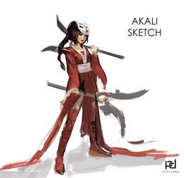 Bloodmoon Akali Sketch by patrickdeza