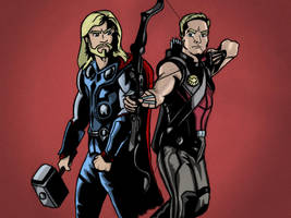 Thor and Hawkeye by StevePaulMyers