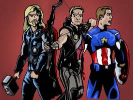 Thor Hawkeye and Captain America by StevePaulMyers