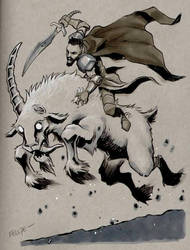 Randall the ranger astride the Goat of Terror  by Silvenger