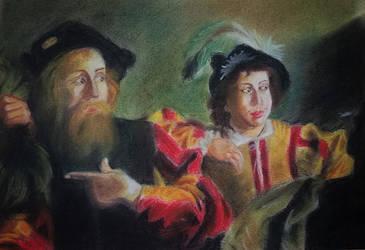 Reproduction of a part of Caravaggio's Masterpiece by Denalentan