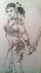 Fantasy Warrior Woman in pencils by Denalentan