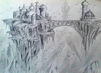 Fantasy floating city in pencils by Denalentan
