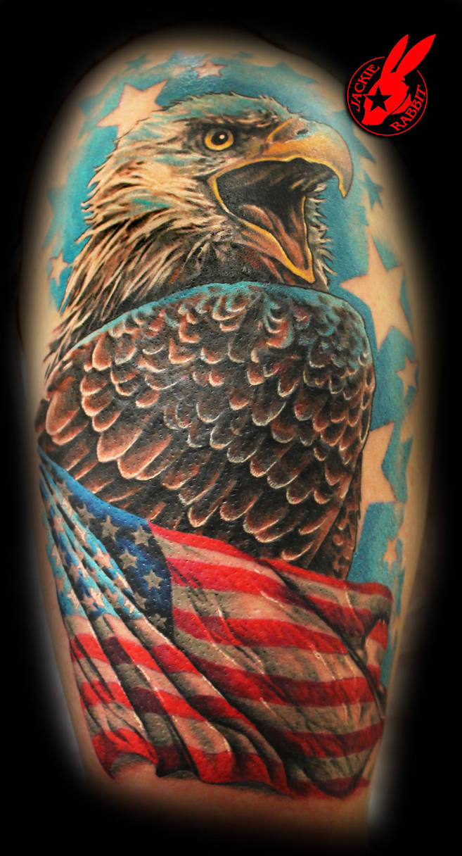 American Flag Eagle Tattoo By Jackie Rabbit By Jackierabbit12 On