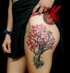 Cherry Blossom Tree Thigh Tattoo by Jackie Rabbit by jackierabbit12