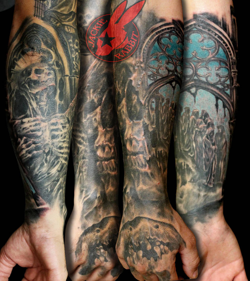 Demon Heaven Hell Sleeve Tattoo By Jackie Rabbit By Jackierabbit12